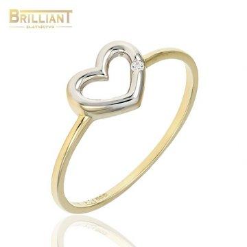 Zlatý prsteň Au585/000 14k srdiečko s kamienkom