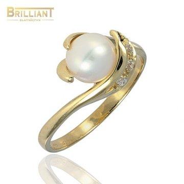 Zlatý Prsteň Au585/000 s perlou a zirkónmi