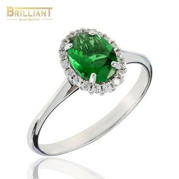 Zlatý Prsteň Au585/000 so zeleným kameňom